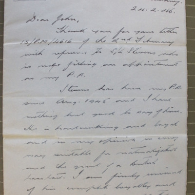 Letter from Air Vice Marshal Davidson to  Wing Commander W R John